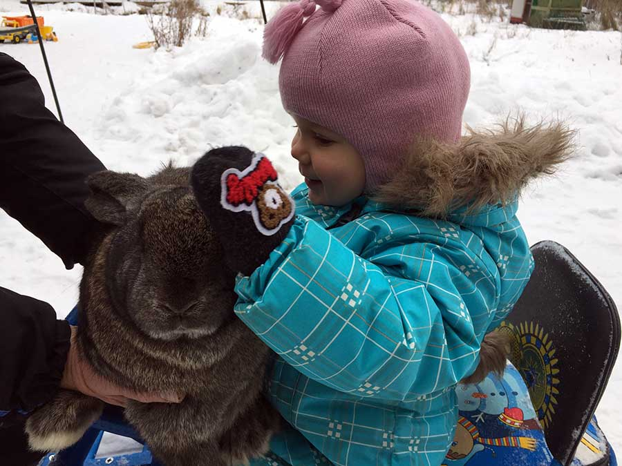 кролик и ребенок